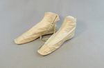 Boots, white satin side-laced, 1852-1854, side view by Irma G. Bowen Historic Clothing Collection