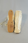 Boots, white satin side-laced, 1852-1854, top and sole view by Irma G. Bowen Historic Clothing Collection