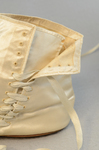 Boots, white satin side-laced, 1852-1854, detail of eyelets by Irma G. Bowen Historic Clothing Collection