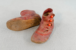 Children's shoes, red kidskin boots, 1860s-1890s, top and sole view by Irma G. Bowen Historic Clothing Collection