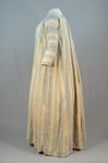 Dress, blue and white striped linen, homespun, c. 1800, side view by Irma G. Bowen Historic Clothing Collection
