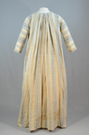 Dress, blue and white striped linen, homespun, c. 1800, back view by Irma G. Bowen Historic Clothing Collection