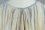 Dress, blue and white striped linen, homespun, c. 1800, detail of neckline pleats by Irma G. Bowen Historic Clothing Collection