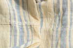 Dress, blue and white striped linen homespun, c. 1800, selvedge seam in back, both interior and exterior by Irma G. Bowen Historic Clothing Collection