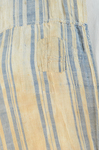 Dress, blue and white striped linen, homespun, c. 1800, detail of interior front waist seam, mends, patch by Irma G. Bowen Historic Clothing Collection