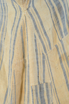 Dress, blue and white striped linen, homespun, c. 1800, detail of exterior right side gore with piecing and mends by Irma G. Bowen Historic Clothing Collection