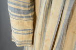 Dress, blue and white striped linen, homespun, c. 1800, detail of sleeve patch by Irma G. Bowen Historic Clothing Collection