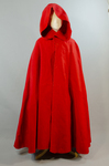 Woman's red wool cloak, c. 1750-1800, front view by Irma G. Bowen Historic Clothing Collection