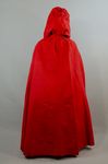 Woman's red wool cloak, c. 1750-1800, back view by Irma G. Bowen Historic Clothing Collection