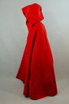Woman's red wool cloak, c. 1750-1800, side view by Irma G. Bowen Historic Clothing Collection