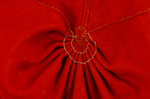 Woman's red wool cloak, c. 1750-1800, detail of hood pleats, interior by Irma G. Bowen Historic Clothing Collection