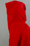 Woman's red wool cloak, c. 1750-1800, detail of hood piecing by Irma G. Bowen Historic Clothing Collection
