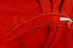 Woman's red wool cloak, c. 1750-1800, detail of hood and collar seams, interior by Irma G. Bowen Historic Clothing Collection