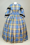 Dress, blue, yellow, and black plaid silk, with day bodice, 1860s, front view by Irma G. Bowen Historic Clothing Collection
