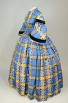 Dress, blue, yellow, and black plaid silk, with day bodice, 1860s, side view by Irma G. Bowen Historic Clothing Collection