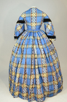 Dress, blue, yellow, and black plaid silk, with day bodice, 1860s, back view by Irma G. Bowen Historic Clothing Collection