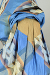 Dress, blue, yellow, and black plaid silk, with day bodice, 1860s, detail of sleeve lining by Irma G. Bowen Historic Clothing Collection