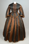 Dress, brown silk with black and white vertical woven stripes, 1850s, front view by Irma G. Bowen Historic Clothing Collection