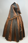 Dress, brown silk with black and white vertical woven stripes, 1850s, side view by Irma G. Bowen Historic Clothing Collection