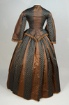 Dress, brown silk with black and white vertical woven stripes, 1850s, back view by Irma G. Bowen Historic Clothing Collection