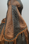 Dress, brown silk with black and white vertical woven stripes, 1850s, detail of sleeve by Irma G. Bowen Historic Clothing Collection