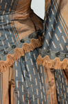 Dress, brown silk with black and white vertical woven stripes, 1850s, detail of trim by Irma G. Bowen Historic Clothing Collection