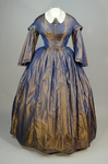 Dress, blue and copper shot silk with whitework collar, c. 1848 altered c. 1858, front view by Irma G. Bowen Historic Clothing Collection