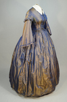 Dress, blue and copper shot silk with whitework collar, c. 1848 altered c. 1858, side view by Irma G. Bowen Historic Clothing Collection