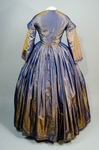 Dress, blue and copper shot silk with whitework collar, c. 1848 altered c. 1858, back view by Irma G. Bowen Historic Clothing Collection