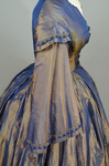 Dress, blue and copper shot silk with whitework collar, c. 1848 altered c. 1858, detail of sleeve by Irma G. Bowen Historic Clothing Collection