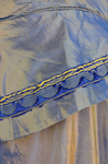 Dress, blue and copper shot silk with whitework collar, c. 1848 altered c. 1858, detail of trim by Irma G. Bowen Historic Clothing Collection