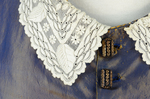 Dress, blue and copper shot silk with whitework collar, c. 1848 altered c. 1858, detail of collar and buttons by Irma G. Bowen Historic Clothing Collection