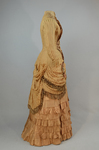 Dress, amber silk taffeta with chenille-fringed barege overdress, c. 1880, side view by Irma G. Bowen Historic Clothing Collection