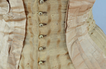 Dress, amber silk taffeta with chenille-fringed barege overdress, c. 1880, detail of overdress buttons and trim by Irma G. Bowen Historic Clothing Collection