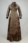 Dress, asymmetrical natural form brown silk taffeta and satin, c. 1880, front view by Irma G. Bowen Historic Clothing Collection