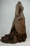 Dress, asymmetrical natural form brown silk taffeta and satin, c. 1880, right side view by Irma G. Bowen Historic Clothing Collection