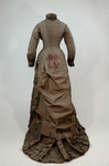 Dress, asymmetrical natural form brown silk taffeta and satin, c. 1880, back view by Irma G. Bowen Historic Clothing Collection