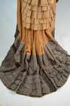 Dress, asymmetrical natural form brown silk taffeta and satin, c. 1880, detail of underskirt back by Irma G. Bowen Historic Clothing Collection