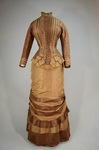 Dress, brown and tan silk taffeta with cuirass bodice and bustle, c. 1883, front view by Irma G. Bowen Historic Clothing Collection