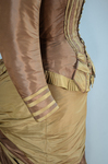 Dress, brown and tan silk taffeta with cuirass bodice and bustle, c. 1883, detail of sleeve by Irma G. Bowen Historic Clothing Collection