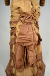Dress, brown and tan silk taffeta with cuirass bodice and bustle, c. 1883, detail of bustle by Irma G. Bowen Historic Clothing Collection