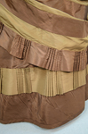 Dress, brown and tan silk taffeta with cuirass bodice and bustle, c. 1883, detail of trim by Irma G. Bowen Historic Clothing Collection