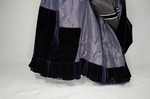 Dress, blue velvet and blue voided velvet on a red ground, c. 1892, detail of skirt base by Irma G. Bowen Historic Clothing Collection
