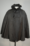 Cape with black silk faille and jet bead embroidery, 1890s, front view by Irma G. Bowen Historic Clothing Collection