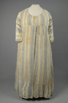 Dress, blue and white striped linen, homespun, c. 1800, front view by Irma G. Bowen Historic Clothing Collection