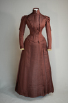 Wedding dress, maroon silk faille with sleeve puffs, 1893, front view by Irma G. Bowen Historic Clothing Collection