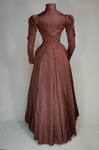Wedding dress, maroon silk faille with sleeve puffs, 1893, back view by Irma G. Bowen Historic Clothing Collection