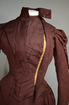 Wedding dress, maroon silk faille with sleeve puffs, 1893, bodice interior 1, unhooked collar and lapel by Irma G. Bowen Historic Clothing Collection