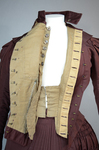 Wedding dress, maroon silk faille with sleeve puffs, 1893, bodice interior 3, unbuttoned lining, waist stay by Irma G. Bowen Historic Clothing Collection