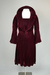 Dress, burgundy velvet with a standing collar and sleeve flounces, c. 1930, quarter view by Irma G. Bowen Historic Clothing Collection